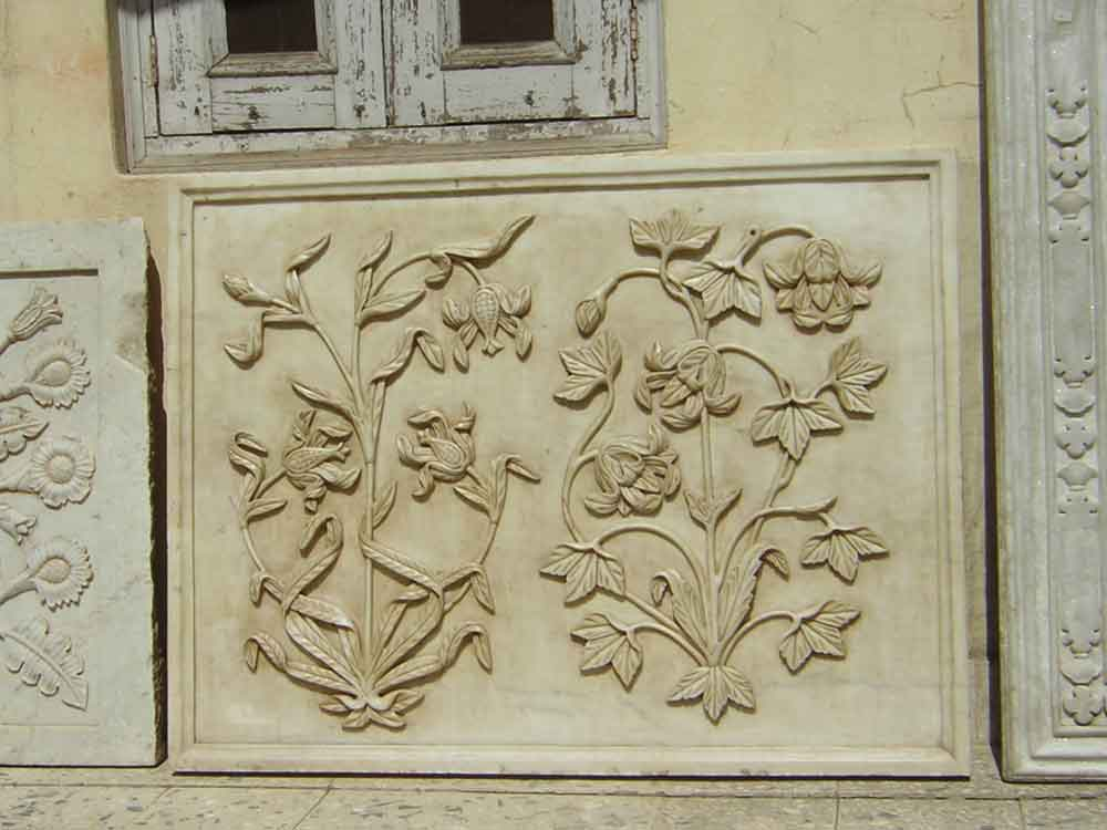 marble carved flower panel