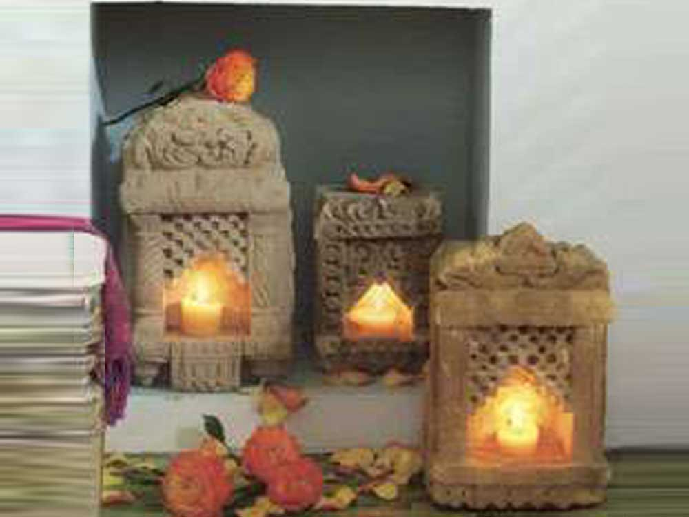 antiue stone tealight : antiue india stone tealight