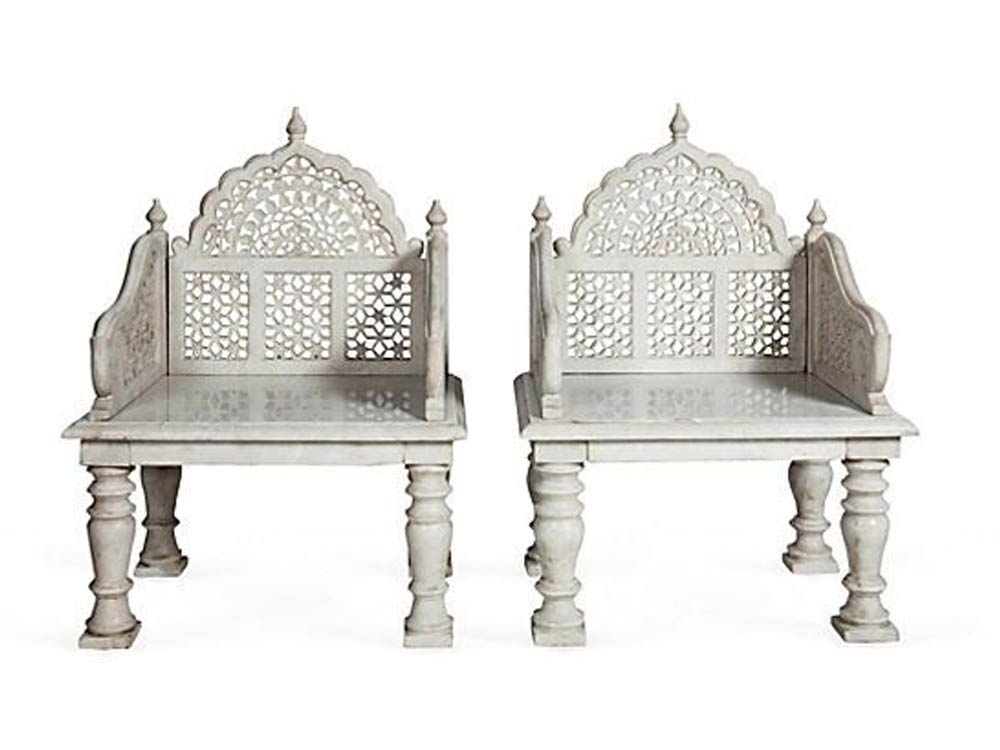Marble and Sandstone Furniture Carved Stone Furniture  : mughal jali marble chair from www.artworld-india.com size 1000 x 750 jpeg 51kB