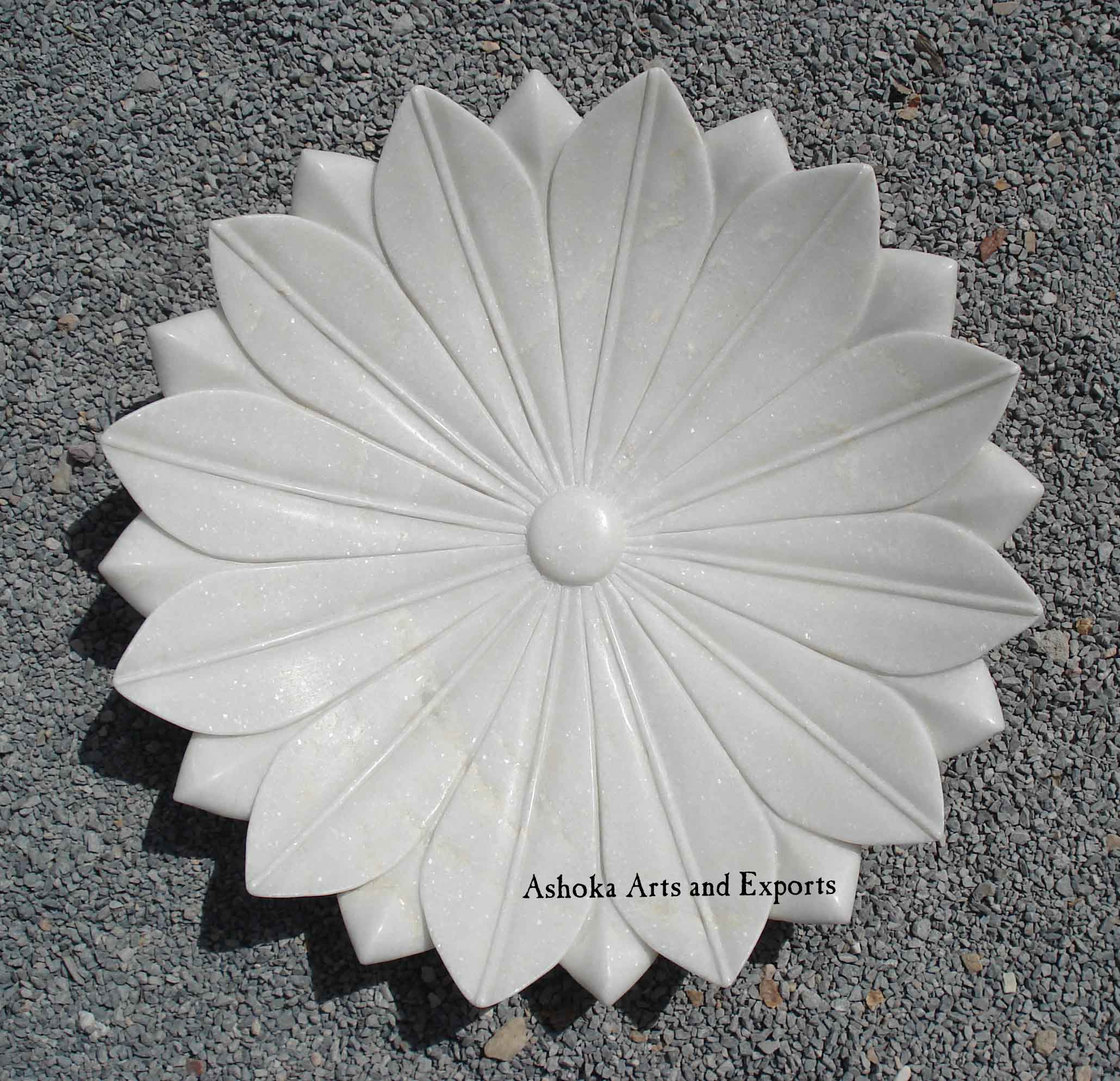 White Marble Lotus Plate