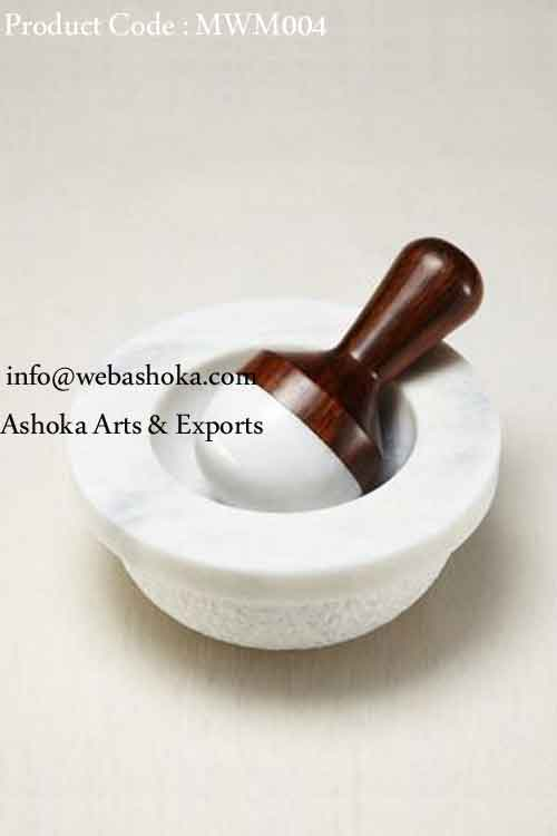 Marble And Wood Mortar Pestle