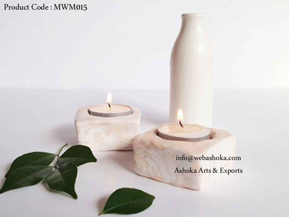 Stone Candle Stand Natural Polished
