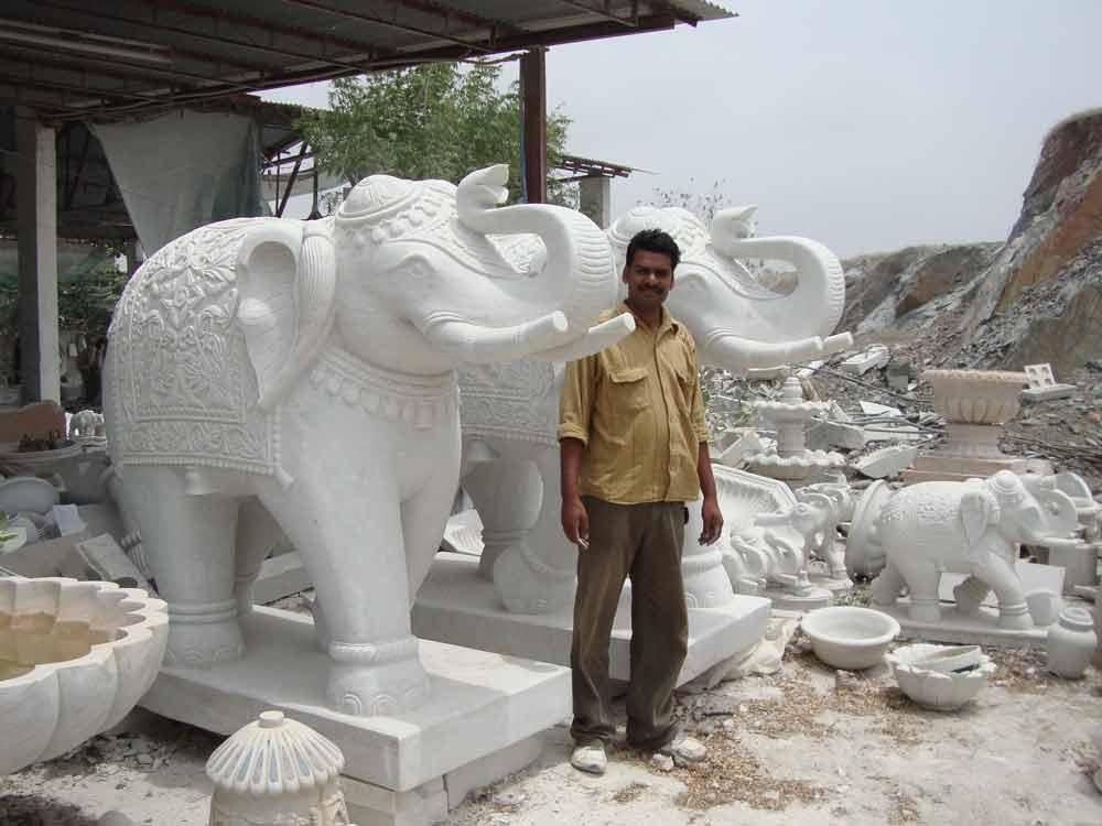 temple elephant statue : Marble Temple Elephant Statue