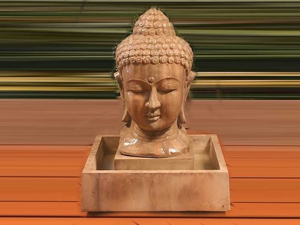 stone buddha fountain :: Sandstone Buddha Head Fountain