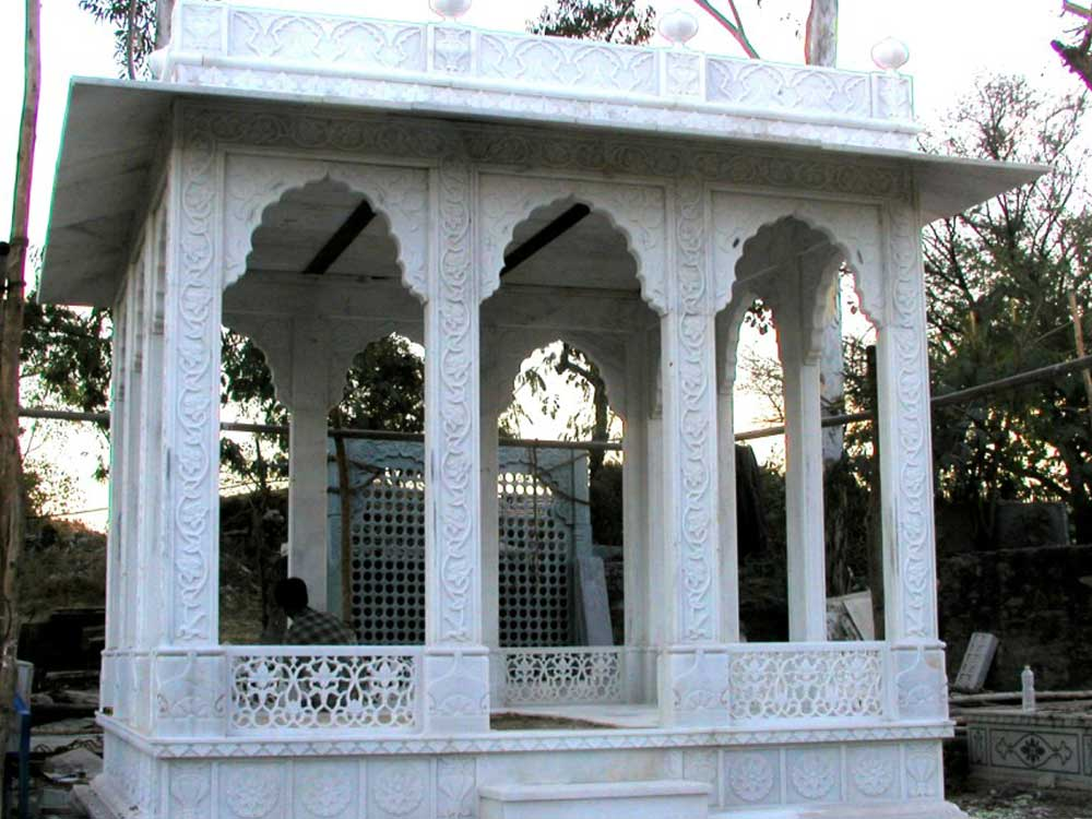 white marble gazebo : Indian White Marble Gazebo