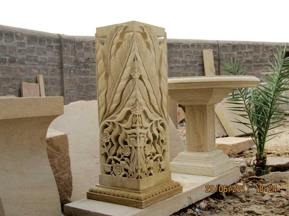 contemporary stone carved lamp Manufacturer India