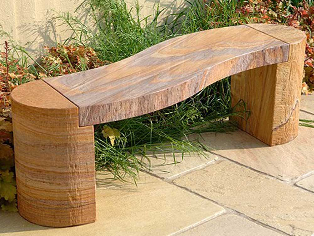 carved garden bench : Garen Stone bench India