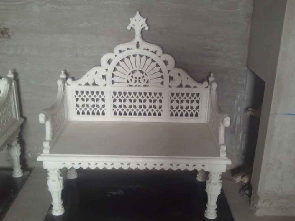 maharaja marble chair : indian marble chair for rooms and garden
