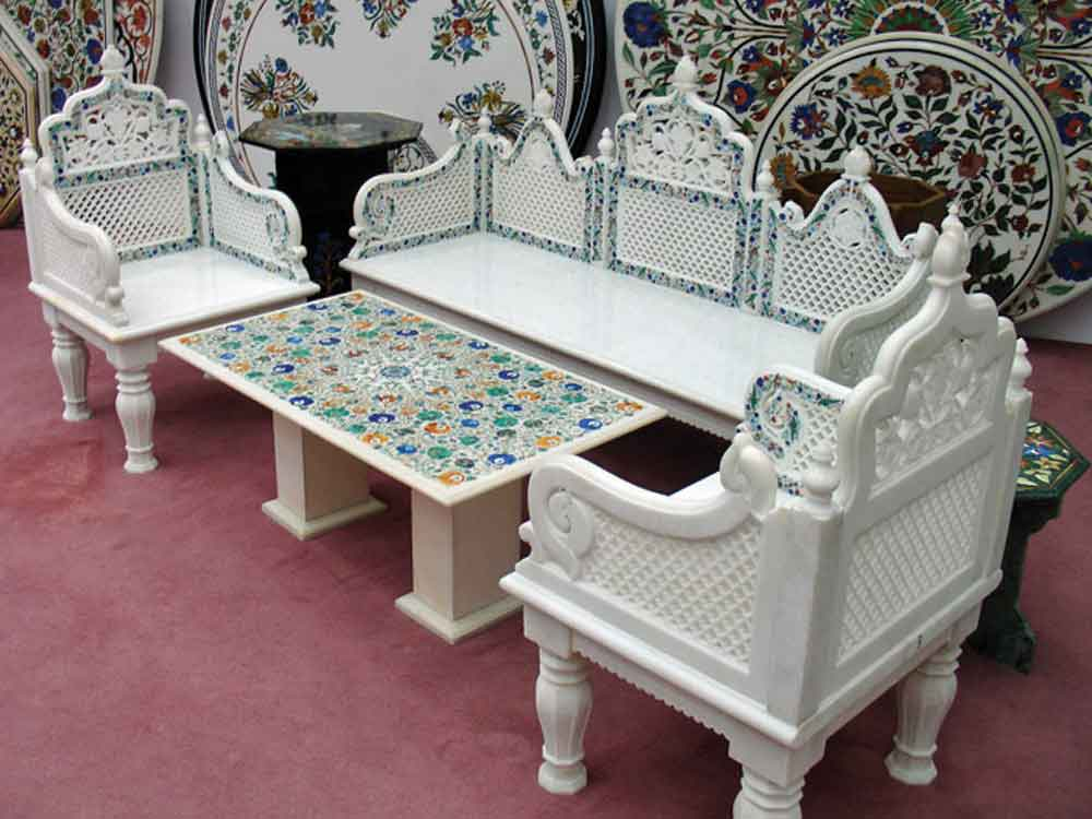 marble inlay sofa : stone inlaid marble sofa india