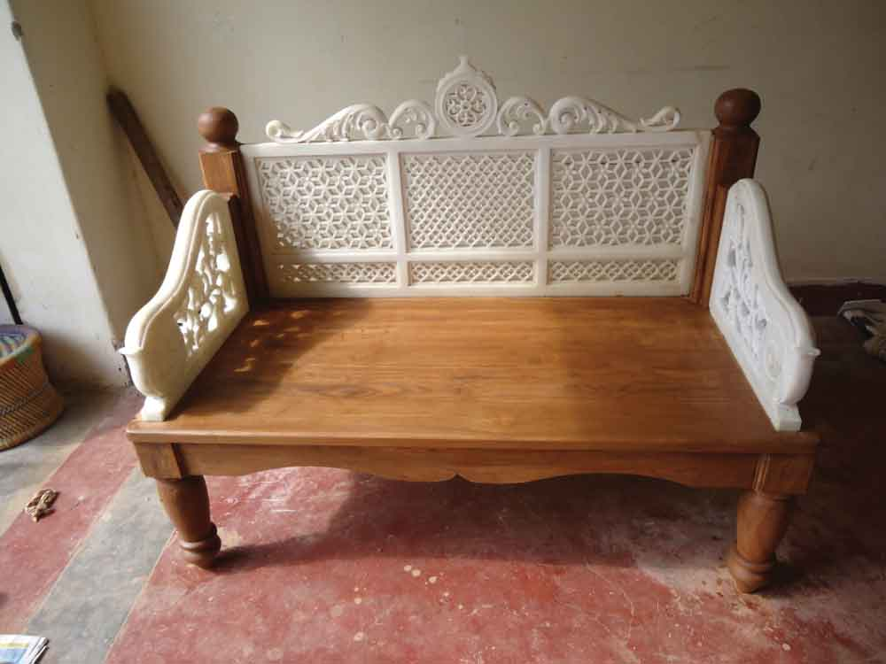 marble wooden sofa : designer wood and marble sofa manufacturer india