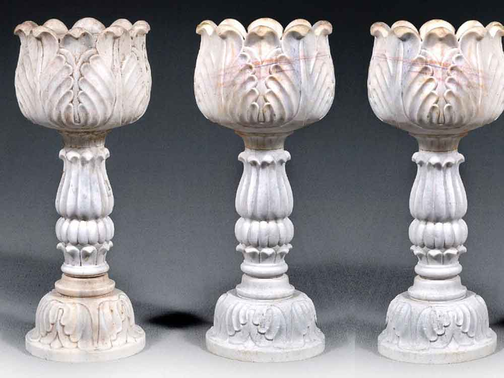 marble carved pots